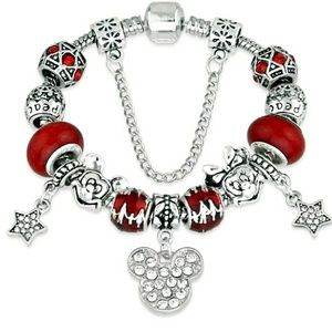 Red and Silver Mickey and Minnie Charm Bracelet